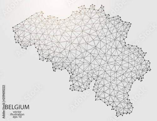 Fotografie, Obraz A map of Belgium consisting of 3D triangles, lines, points, and connections