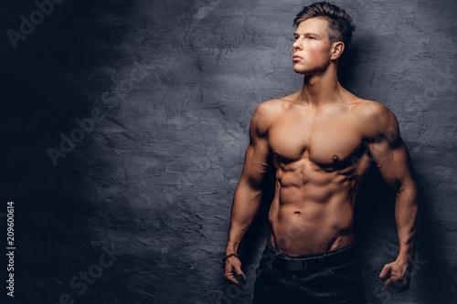 Fotografie, Obraz  Beautiful shirtless young man model with nice muscular body posing at a studio