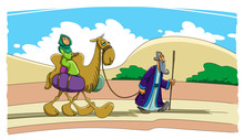 Abraham Goes Forward. Sarah Is Riding A Camel.