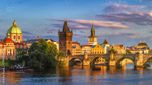 Staande foto Praag Prague, Czech Republic panorama with historic Charles Bridge and Vltava river on sunny day.