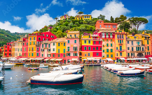 Beautiful bay with colorful houses in Portofino,  Liguria, Italy Wallpaper Mural