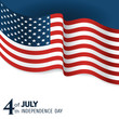 banner to the US Independence Day. Waving flag of united states close-up on a blue and white background