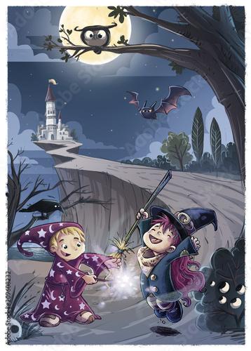 bruja y mago de noche