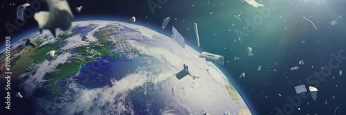 Fotografía space debris in Earth orbit, dangerous junk orbiting around the blue planet