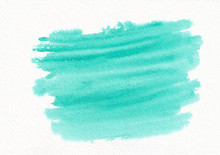 Teal And Green Horizontal  Watercolor  Gradient  Hand Drawn  Background.