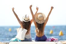 Joyful Tourists On Summer Vaca...