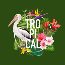 Tropical Summer Design With Pe...