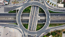 Aerial Drone Bird's Eye View Of Popular Highway Of Attiki Odos Multilevel Junction Ring Road, Passing Through Kifisias Avenue In Marousi