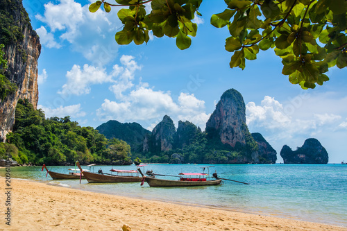 Foto op Canvas Asia land Amazing view of beautiful Ao Nang Beach with longtale boats. Location: Krabi Province, Thailand, Andaman Sea. Artistic picture. Beauty world.