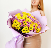 Beautiful Woman Hold Bouquet O...