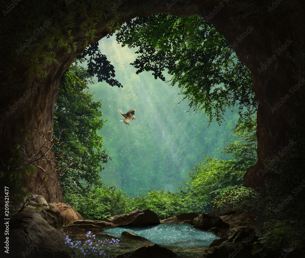 Fototapeta Fantasy cave in the mountains