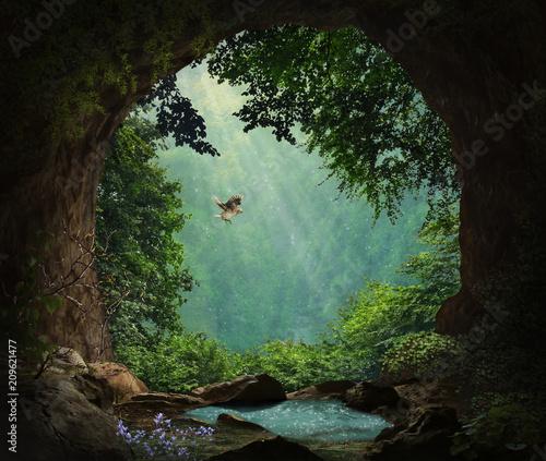 Naklejka premium Jaskinia fantasy w górach