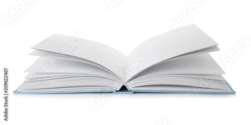 Fotografie, Obraz  Open book with hard cover on white background