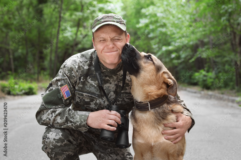 Fototapeta Man in military uniform with German shepherd dog, outdoors
