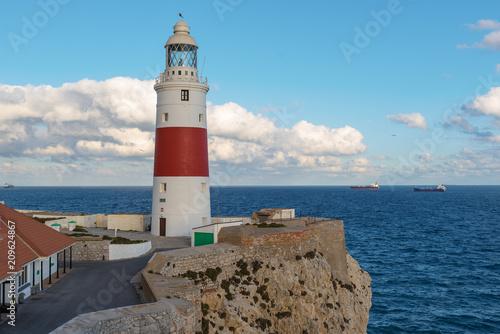 Foto op Aluminium Vuurtoren Lighthouse at Europa point in GibraltarLighthouse at Europa point in Gibraltar
