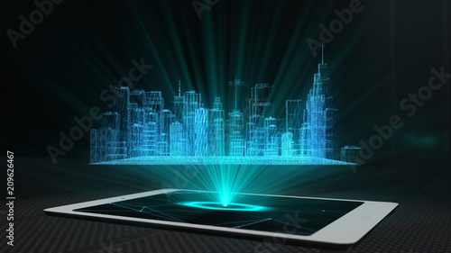 Photo City projection futuristic holographic display phone tablet hologram technology