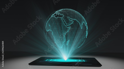 Photo World map projection futuristic holographic display tablet hologram technology