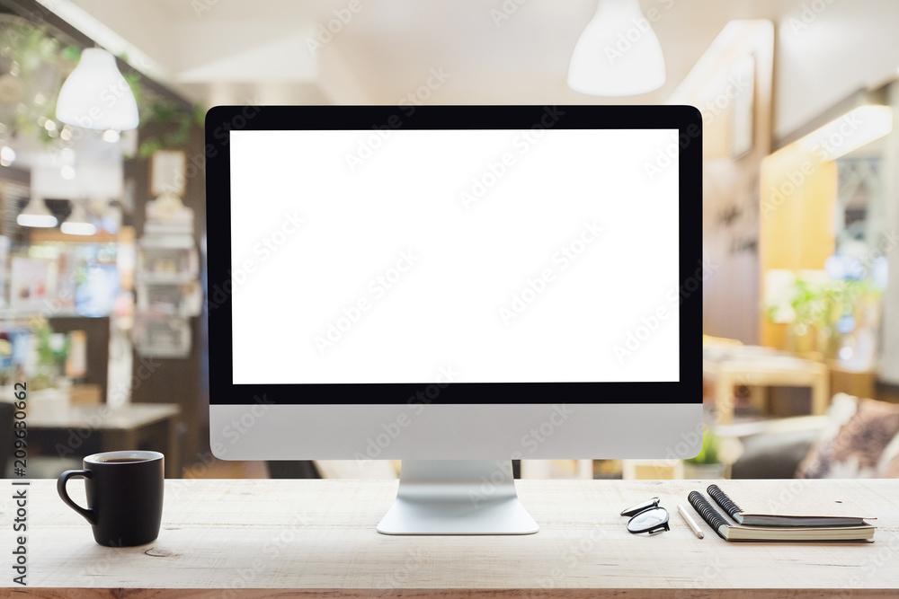 Fototapeta desktop computer white frame on work table