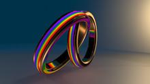 Same-sex Marriage Gay Pride LGBT Gay Marriage Wedding Ring 3D Render
