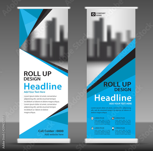 Roll Up Banner Template Vector Stand Pull Up Display