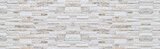 Fototapeta Kamienie - Panorama of Modern Brown and white stone wall pattern and background