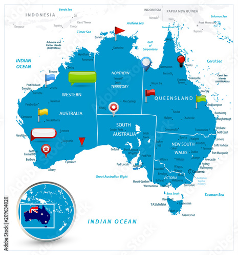 Australia Map and glossy icons on map – kaufen Sie diese ...