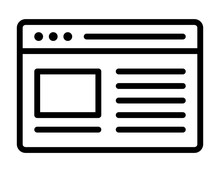 Internet Website Or Webpage On Web Browser Window Line Art Icon For Apps And Websites