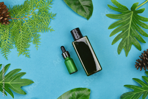 Fototapeta Cosmetic bottle containers on green herbal leaves background, Blank label for branding mock-up, Natural organic skincare beauty product concept. obraz na płótnie
