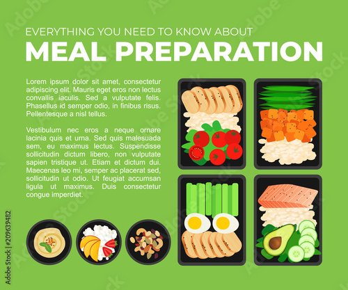 Vector template for magazine article about meal preparation