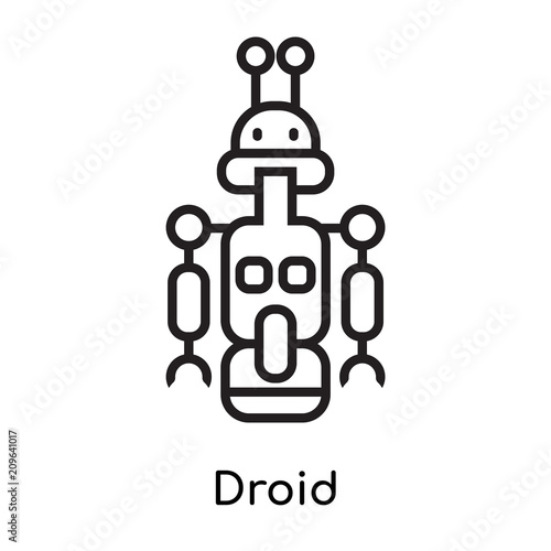 Fototapeta Droid icon vector sign and symbol isolated on white background, Droid logo conce