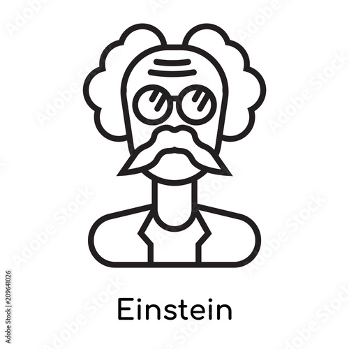 Photo  Einstein icon vector sign and symbol isolated on white background, Einstein logo