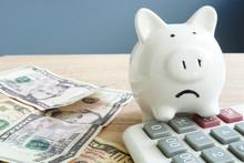 Money Worries Concept. Unhappy...