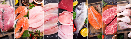 food collage of various fresh meat, chicken and fish