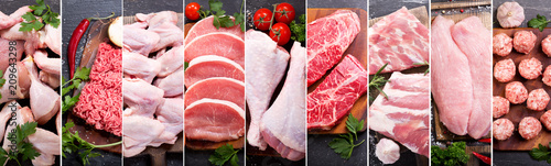 Foto op Canvas Vlees food collage of various fresh meat and chicken