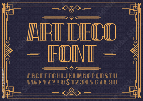 Art deco font. Retro font sans serif style for party poster, printing on fabric, t shirt, promotion, decoration, stamp, label. Cool bold modern alphabet vintage typography. Vector 10 eps