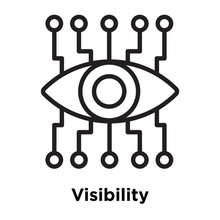 Visibility Icon Vector Sign And Symbol Isolated On White Background, Visibility Logo Concept, Outline Symbol, Linear Sign