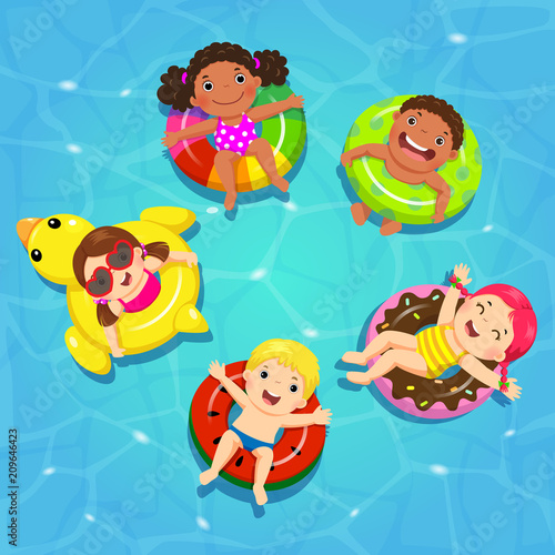 Cadres-photo bureau Cosmos Top view vector of kids floating on inflatable in the pool