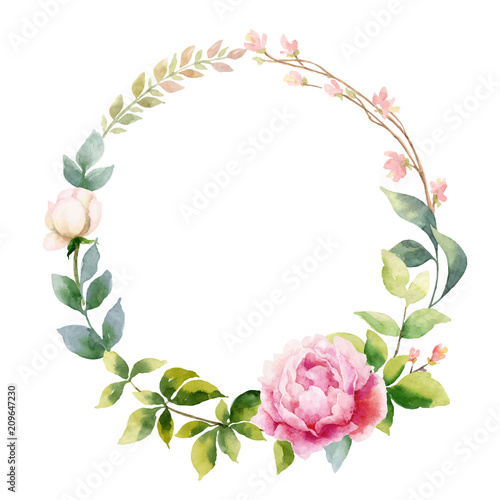Foto Watercolor vector hand painting wreath of peony flowers and green leaves