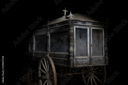 Fotografie, Obraz  Old abandoned and dusty hearse carriage