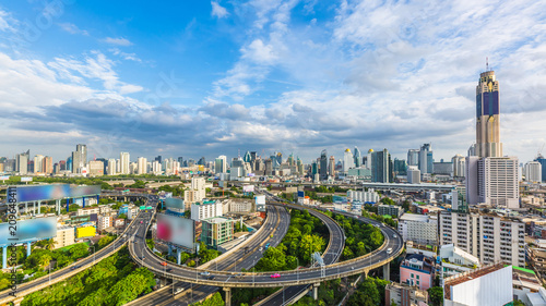 Canvas Print Bangkok City with curve express way and skyline skyscraper, Bangkok cityscape, Thailand