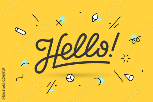 Fototapeta Hello. Lettering for banner, poster and sticker concept with text Hello. Icon message Hello on white background, geometric memphis style. Calligraphic simple logo. Vector Illustration obraz