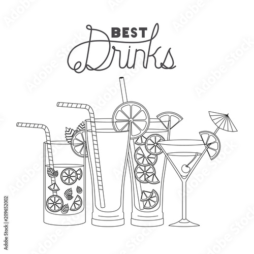 Deurstickers Kerstmis best drinks set icons vector illustration design