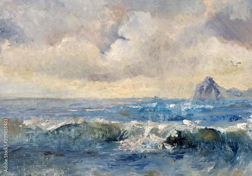 Staande foto Beige landscape, oil painting, hand made