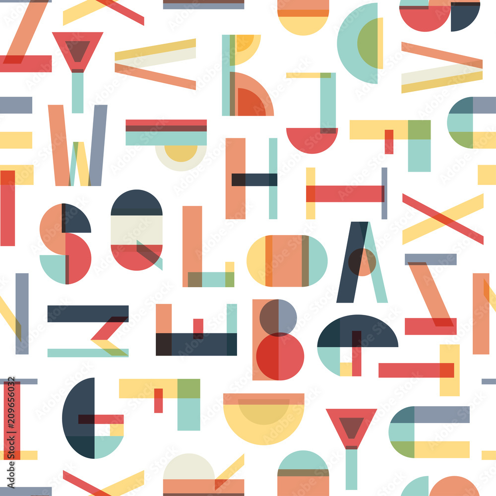 Colorful seamless pattern with letters. Geometric abstract vector.
