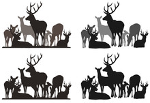 Silhouettes Of A Herd Of Deer....