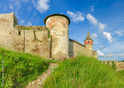 Foto  Part of southern side of medieval Kamianets-Podilskyi fortress, Ukraine