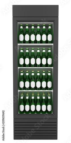 market fridge with beer isolated on white background