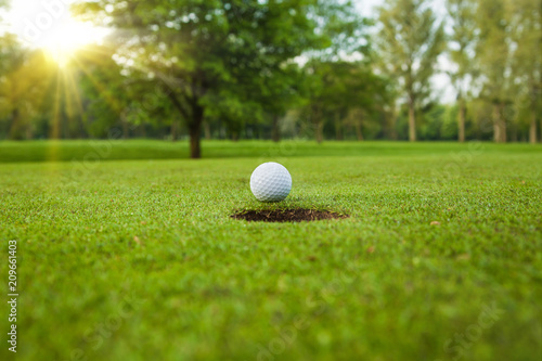 Poster Golf golf ball on lip of cup