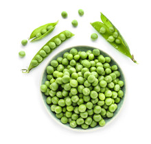Bowl With Green Peas On White Background