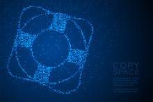 Abstract Geometric Circle Dot Pixel Pattern Lifebuoy Shape, Aquatic And Marine Life Concept Design Blue Color Illustration Isolated On Blue Gradient Background With Copy Space, Vector Eps 10